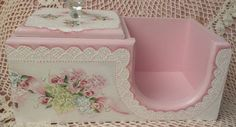 Hand Painted Box Vintage Cottage Chic Pink Roses Hydrangeas Shabby Lace HP