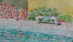 Opa is er weer. En hij heeft weer een mooi schilderij gemaakt. We zagen hem vanmiddag al zitten aan het zwembad. Had hij nou gezwommen of niet.  Hij heeft het bankje bij zwembad geschilderd. Met de bougainville en oleander op de achtergrond. Leuk geworden hé! Happy Turtle Apartments, Curacao Happy Turtle, Painting, Art, Art Background, Painting Art, Kunst, Paintings, Performing Arts, Painted Canvas