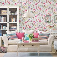 Add folk floral wallpaper to a neutral living room scheme. Matching furniture in pale colours stops the look being too busy. Cream Living Rooms, Cute Living Room, Tiny Living Rooms, Living Room Designs, Living Room Decor, Room Wallpaper Designs, Motif Floral, Living Room Pictures, Interior Exterior