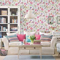 Cream living room with folk wallpaper | Living room decoration | Ideal Home | Housetohome.co.uk
