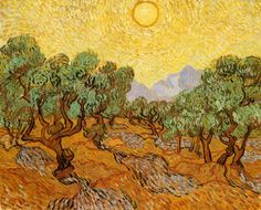 The Athenaeum - Olive Trees with Yellow Sky and Sun (Vincent van Gogh - )