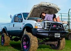country girl workin on her truck
