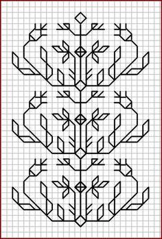 Blackwork Pattern by alissa Kasuti Embroidery, Cross Stitch Embroidery, Embroidery Patterns, Cross Stitch Patterns, Graph Paper Drawings, Graph Paper Art, Blackwork Cross Stitch, Cross Stitching, Zentangle