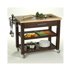 This Chris & Chris Pro Chef Kitchen Cart with Granite Top is a welcome addition to your kitchen. It has a solid wood construction. The base is available in multiple finishes. It features a large divided drawer and has a dual surface work area with granite and engrain hardwood surface. It has two large removable wire basket shelves, a trash ring, a trash bag, a knife block, a removable pot rack, spice rack, and a towel rack. This kitchen cart features a Chop and Drop technology, with a bui...