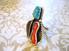 Vintage Sterling Silver Coral and Turquoise Southwestern Ring 7 by charmingellie…