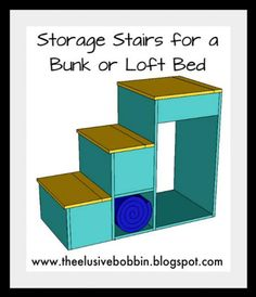 Storage Stairs for a Bunk of Loft Bed. Free Plans at Ana-White.com