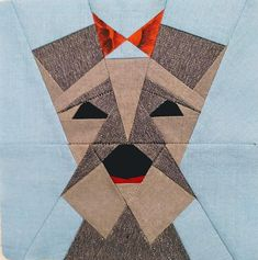 Dog quilt block pattern - Miniature schnauzer - paper piecing - tutorial for beginners. This is a modern design for the manufacture of home decor products: quilts, decorative pillows or baby blankets. Instant download. This template contains instructions only for making a block of