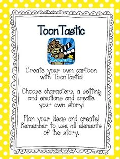 FREE! Graphic organizers and instructions to create a complete narrative using ToonTastic (free App!) Includes cut and paste characters, sett...