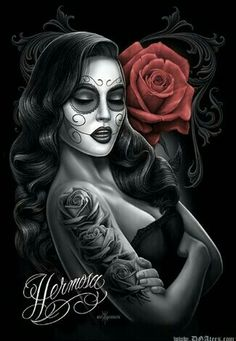 Skull Girl Tattoo, Sugar Skull Tattoos, Girl Tattoos, Og Abel Art, Arte Cholo, Cholo Art, Chicano Love, Chicano Art, Tattoo Studio