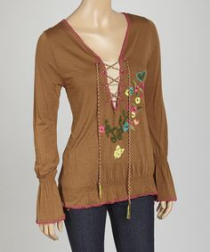 Look what I found on #zulily! Brown Floral Embellished Blouson Top - Women by TBI Apparel #zulilyfinds