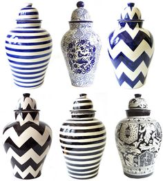 art designs & patterns, vases, potteryware, black and white, blue and white, blue