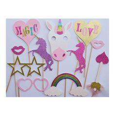 Unicornio fotos fiesta cabina apoyos; Decoración de cumpleaños de unicornio; Apoyos de la foto del día de San Valentín; Decoración fiesta de unicornio; Decoración fiesta de cumpleaños chica