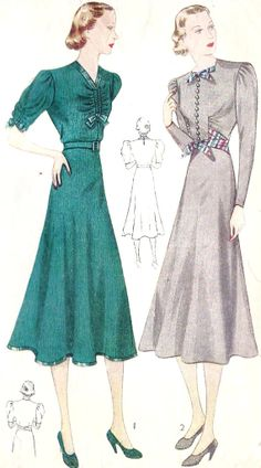 1930s Misses Afternoon Dress Vintage Sewing Pattern, With Drawstring Neckline, Simplicity 3546 Bust 30. $32.00, via Etsy.