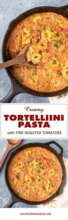 Creamy Tortellini Pasta with Fire Roasted Tomatoes - A recipe for quick and easy cheese tortellini cooked in a creamy fire roasted tomato sauce with ground turkey.