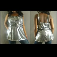 Silver Pewter Baby Doll Empire Waist Plus Tank Top Shine like the star you are in this silver baby doll top. Center features rhinestone embellished detailing. Brand new. Tops Tank Tops