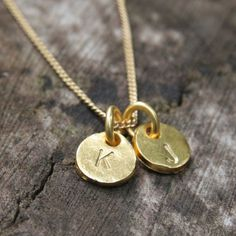Gold Personalized Necklace / Two Monogram Initials Hand Stamped Coin Discs / Mothers Necklace. $39.00, via Etsy.