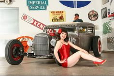 Pinup with 1931 Ford rat rod sedan