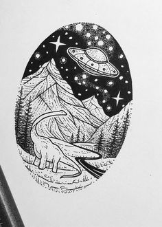 Space Drawings, Cool Art Drawings, Doodle Drawings, Doodle Art, Tattoo Drawings, Art Sketches, Arte Sketchbook, Desenho Tattoo, Alien Art
