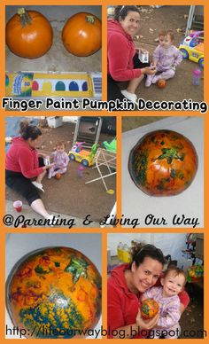 Finger Painting Pumpkins! Fun and easy to do with multiple ages! Great sensory exploration project