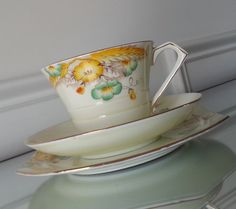 Antique Paragon Wheatear Tea trio, art deco tea cup and saucer with dessert plate, floral and wheat  English bone china tea set by Pickedtwice on Etsy