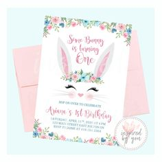 Some Bunny is Turning One Invitation - Digital File Only - Print Yourself Turning One, 1st Birthday Invitations, Watercolor Invitations, Personalized Invitations, Rsvp, Bunny, Messages, Digital, Flowers