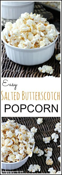 Easy Salted Butterscotch Popcorn Recipe, a quick snack idea that the kids will love | SnappyGourmet.com