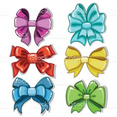 cute-cartoon-bows-of-different-shapes-and-colors-vector-id539240894 (1024×1024) Cute Cartoon, Color Vector, Different Shapes, Bows, Colors, Disney, Anime, Arches