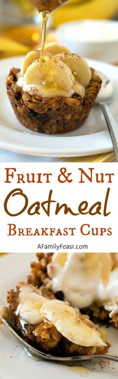 Fruit and Nut Oatmeal Breakfast Cups Fruit and Nut Oatmeal Breakfast Cups Make breakfast a little extra special with these sweet little cups! Fill with yogurt and fruit for the perfect sweet treat. Source by afamilyfeast Vegetarian Breakfast Recipes, Brunch Recipes, Dessert Recipes, Fruit Recipes, Recipies, Desserts, Breakfast Cups, Best Breakfast, Breakfast Ideas