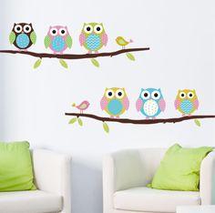 Animal de la historieta del búho del árbol de pared de vinilo pegatinas para cuartos de los niños chicos a casa decoración sofá living pared calcomanías niños etiqueta de papel tapiz(China (Mainland))