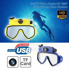 HD 720P Underwater 30M Waterproof Video Camera Diving Mask Digital Camcorder DV 104