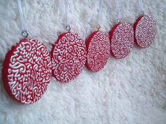 Set of Five Round Wooden White and Red Christmas by ellemardesigns on Etsy, $16.00