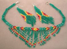 native american beaded earrings | Green beaded necklace and earrings with beaded fringes.
