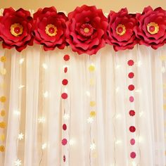 Large red paper flowers for backdrop and wall decor. Custom colors welcome. Large red paper f Large Paper Flowers, Paper Flower Wall, Flower Wall Decor, Paper Flower Backdrop, Red Flowers, Stage Decorations, Flower Decorations, Wedding Decorations, Housewarming Decorations