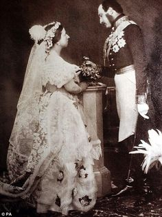 Queen Victoria and Prince Albert. Famous white wedding dress!! Now all brides wear white!!! Very sweet and pretty!!