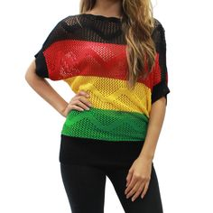 New Rasta Lady Knit Top - Reggae Party Fishnet Batwing Sleeves Shirt - HRA7533 #Hera #KnitTop #Casual