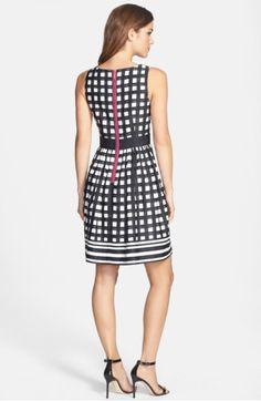 Eliza J Print Faille Fit   Flare Dress  f37fe3b57