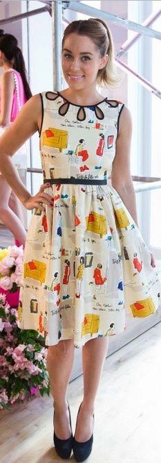 Lauren Conrad: Dress and shoes - Kate Spade Kate Spade New York 'rainey' Dress Kate Spade New York Lori KATE SPADE Lori Platform Pump Black Suede Kate Spade New York 'rainey' Dress