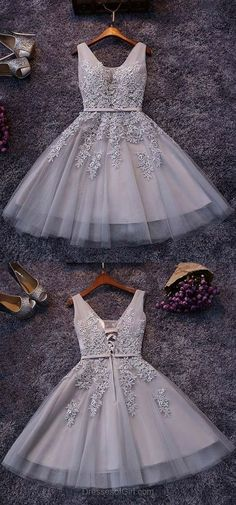 Gray Tulle Homecoming Dresses,Lace Homecoming Dresses,Homecoming Dresses 2017,Short Prom Dresses 2017
