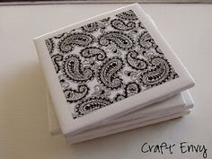DIY Simple Ceramic Coasters - only 4 supplies    1. ceramic tiles (16 cents @ Home Depot)  2. printed design and scissors  3. Mod Podge   4. Spray clear lacquer