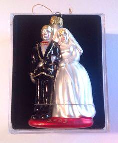 Wedding Bride Groom Glass Ornament Hand Crafted 2003 New W/ Box