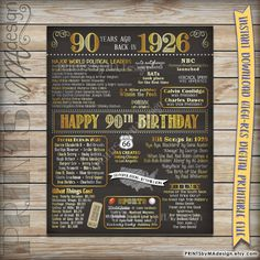 90th Birthday 1926 Chalkboard Poster Sign, 90 Years Ago Born in 26 USA Events, 90th Birthday Gift, Instant Download Digital Printable File