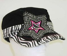 NEW Black Cap w Rhinestone Star & Zebra Trim Pattern