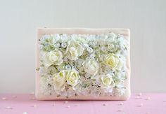 The White Field Clutch - ivory flower wedding purse