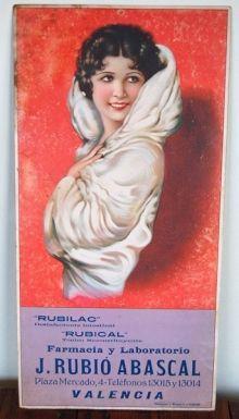 Cartel publicitario en carton y papel litografiado farmacia y laboratorio J.Rubio Abascal. sobre 1920.