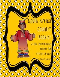 """This """"All About South Africa"""" booklet can be used for a very basic country study in primary elementary grades! Just print out the pages, cut along the center dotted line, stack the small pages on top of each other and staple together! The majority of the clip-art is in an outline format so that it's ready to be colored like a mini-coloring book. Africa Map, South Africa, Africa Activities For Kids, All About Africa, Outline Format, Summer Reading Program, Kindergarten Writing, Booklet, Coloring Book"""