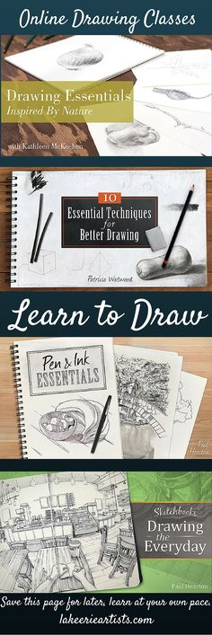 Learn the basis of how to draw at your own pace in your own home. These online drawing classes will get you started on basic drawing skills.
