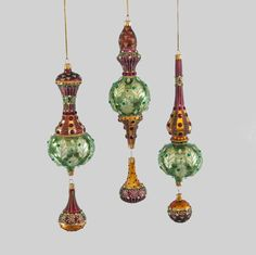 """Katherine's Collection Into The Woods Collection Three Assort 10"""" Woodland Dangle Glass Ornaments Free Ship"""