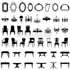 sistema de silueta los muebles — Vector stock © angelp #3638648
