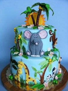 24 Fun Themed Kids Birthday Cake Ideas - Ideal Me Crazy Cakes, Fancy Cakes, Cute Cakes, Zoo Cake, Jungle Cake, Jungle Theme, Jungle Safari, Safari Theme, Rodjendanske Torte