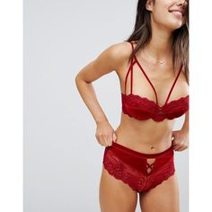 0b5576fb57077 ASOS Crystal Red Velvet French Knicker ($19) ❤ liked on Polyvore featuring  intimates, panties, red, brazilian panty, high waisted knickers, red  knickers, ...